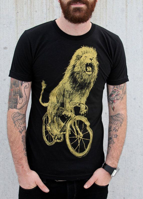 Hey, I found this really awesome Etsy listing at http://www.etsy.com/listing/129455452/mens-t-shirt-lion-on-a-bicycle-american