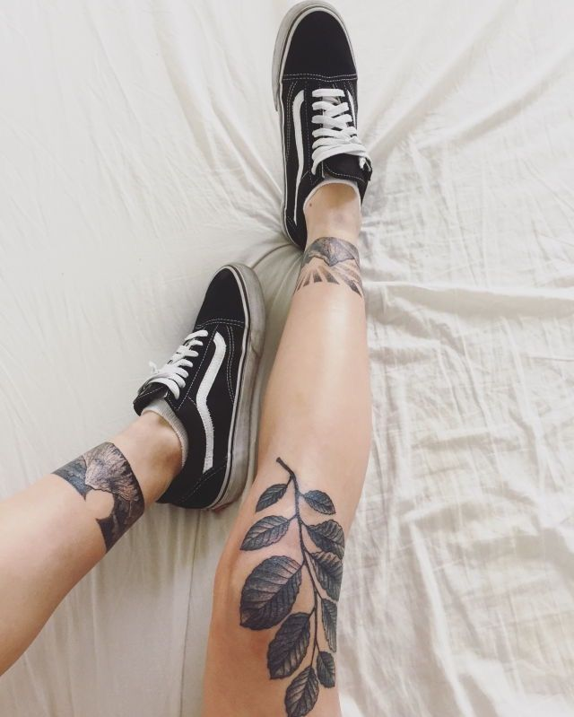 Black and gray leg tattoos                                                                                                                                                                                 More