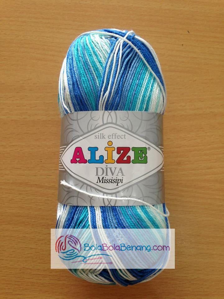 ALIZE DIVA MISSISIPI 3689, Price: 90.000,-/gulung, Bahan: 100% Microfiber Akrilik, Berat/Panjang: 100gr/350m, Knitting Needles: 2,5mm – 3,5mm, Crochet Hook: 1mm - 3mm