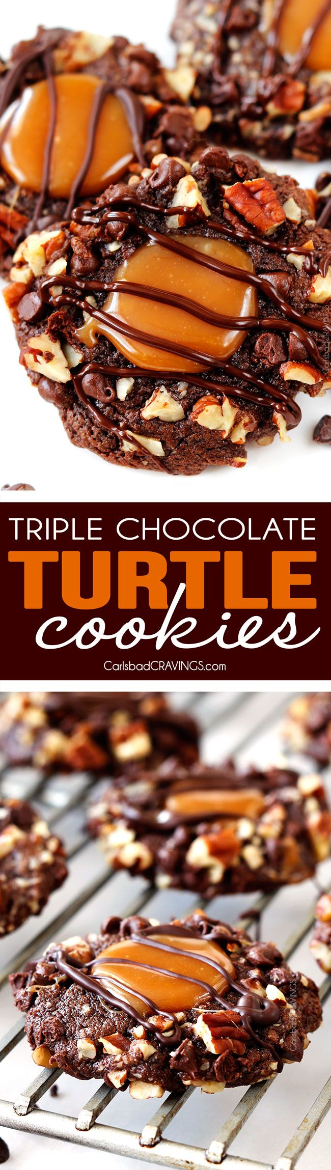 My favorite cookie! Triple Chocolate Turtle Cookies rolled in mini chocolate chips and pecans then filled with creamy, silky caramel and drizzled with chocolate and easier than you think!
