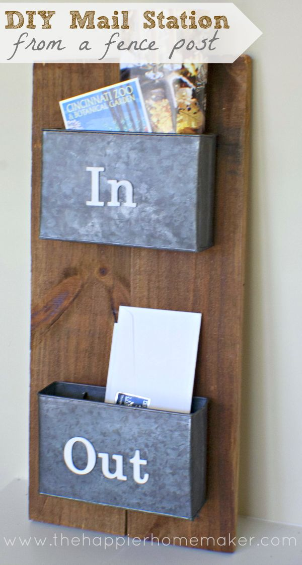DIY Mail Sorting Station from a Fence Post   The Happier Homemaker