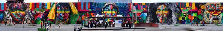 eduardo kobra paints 3,000 square meter mural for the rio olympics
