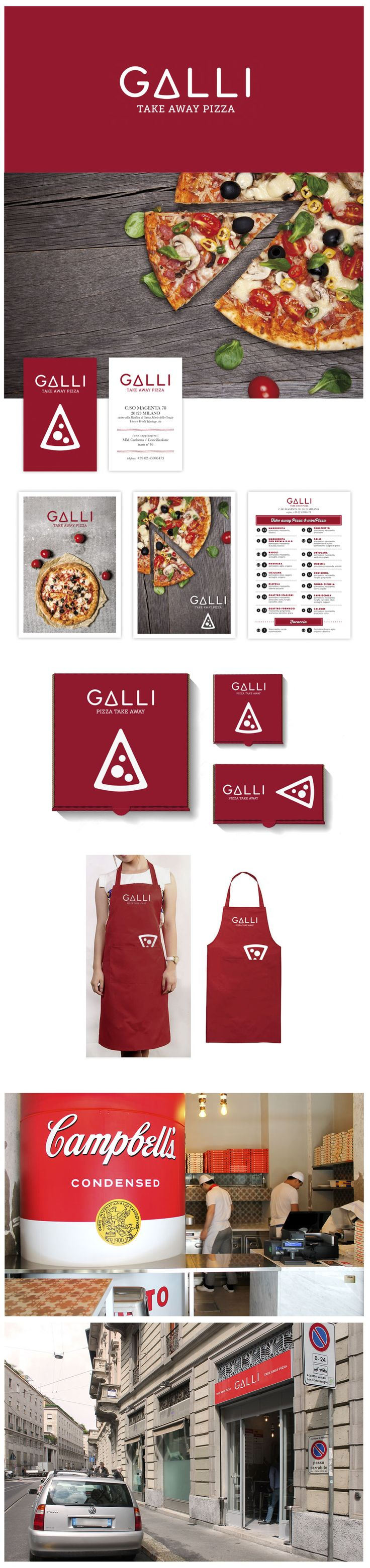 A brand identity project for GALLI Take Away Pizza in Milano. #pizza #branding #red More