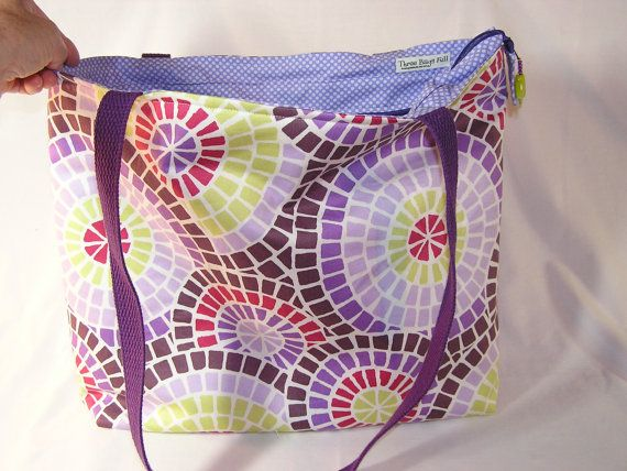 Purple Mosaic Tory Tote by ThreeBagsFullStudio on Etsy, $78.00