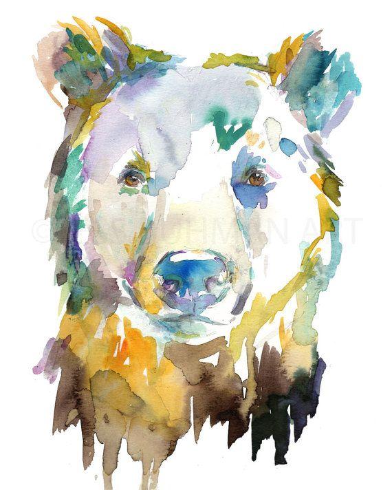 Bear Watercolor Portrait Print, Bear Painting, Watercolor Print of Bear, Nursery Art, Woodland Art, Woodland Painting, Nursery Watercolor