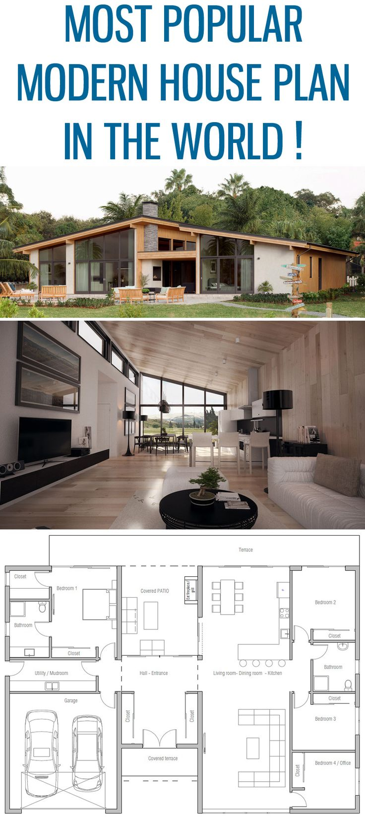Most popular modern house plan ! Home Plan, Floor plan, House Plan, architecture
