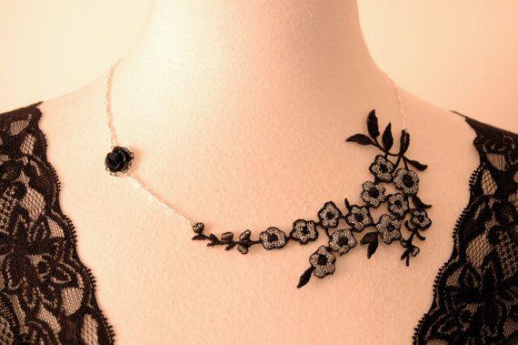 Girocollo asimmetrica collana di fiori in tessuto di pizzo nero argento gioielleria damigelle retrò/romantico/vittoriano/Classy/estroso moni...