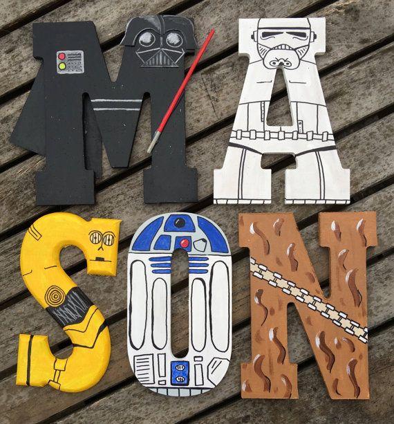 Pintados a mano de 55 de alto madera Letras Star Wars