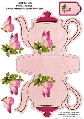 Butterfly Teapot Box Card