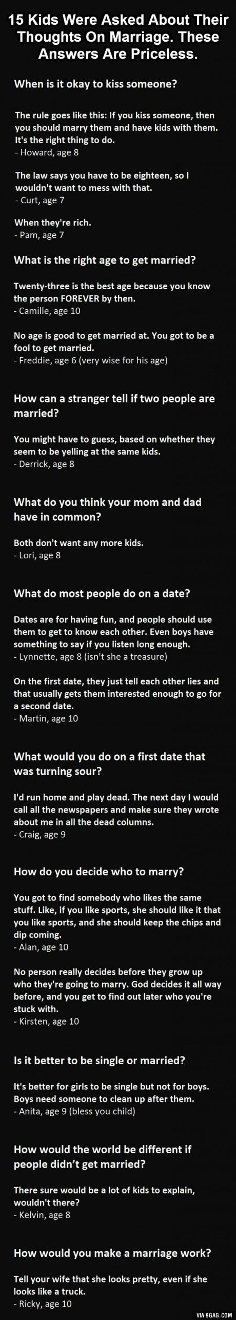 Kid's take on marriage.  Absolutely adorable and hilarious.