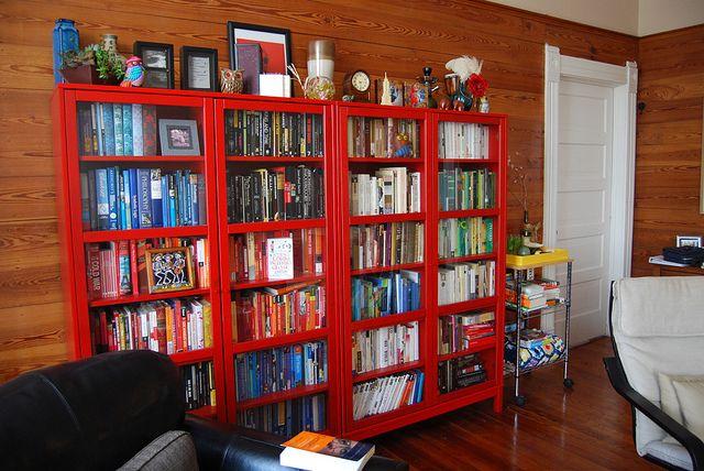 تصميم رفوف مكتبة كتب حمراء منزلية موقع موسوعة الصور Home Home Decor Bookcase