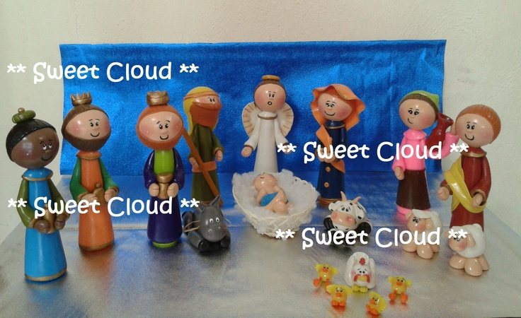 "Nativity. Nacimiento en pasta francesa. Conoce nuestros productos en Face Book como ""Sweet Cloud"""