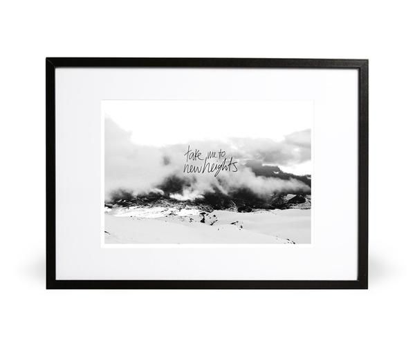 Take Me to New Heights art print. It is time to soar. Part of the In the Wilderness collection. Featuring handwritten typography and photography from Mt. Ruapehu. Available in either A4 (21 x 29.7cm) or A3 (29.7 x 42cm). Printed onto 280gsm textured Nettuno Bianco Artico paper stock. Embossed with Intricate Collections logo at bottom right. Original artwork by Intricate Collections.