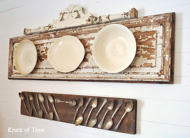 Old door plate wall display by Knick of Time, featured on http://www.funkyjunkinteriors.net/