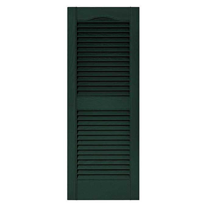 Builders Edge 15 In X 43 In Louvered Shutters Pair 122 Midnight Green Review Vinyl Shutters Builders Edge Louvered Shutters