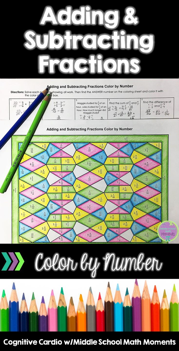 Try This Self Checking Color By Number To Help Your Math Students Practice Adding And Subtract Adding And Subtracting Fractions Subtracting Fractions Fractions Adding and subtracting color by number