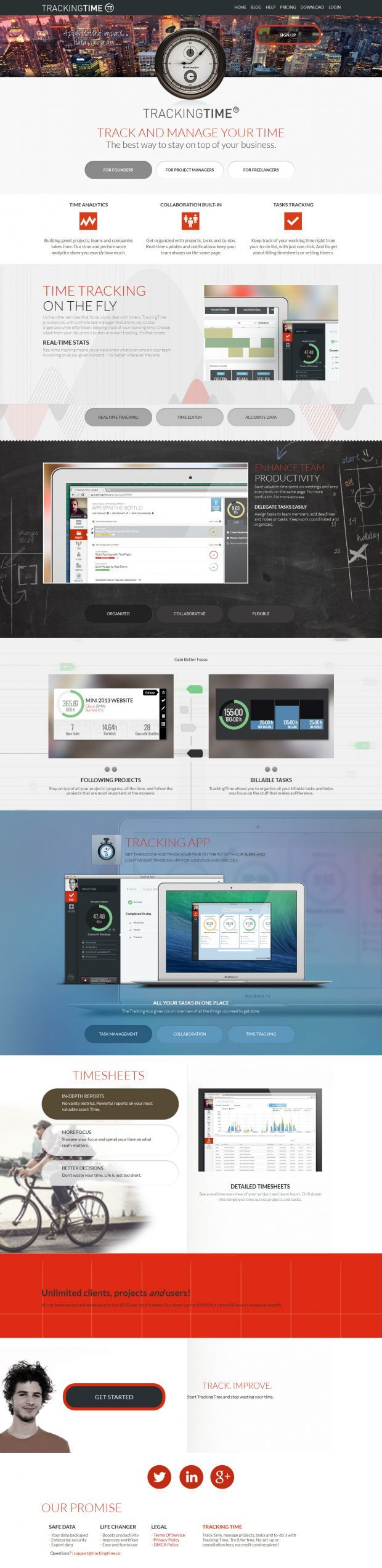 Time Tracking Software - Tracking Time - Webdesign inspiration