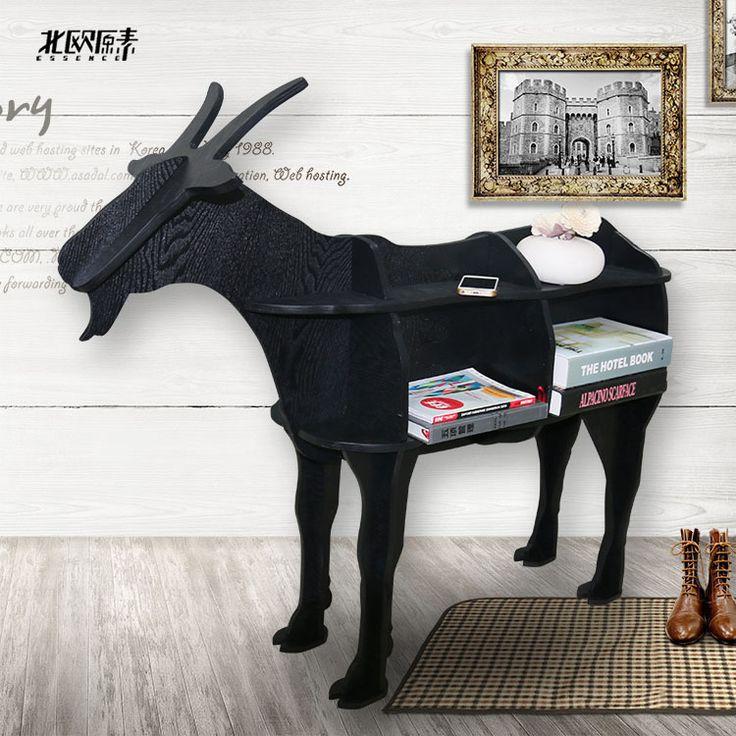 Scandinavische stijl hout geit schapen dier vormige houten boekenkast planken console tafel ornamenten creatieve Nordic home decor