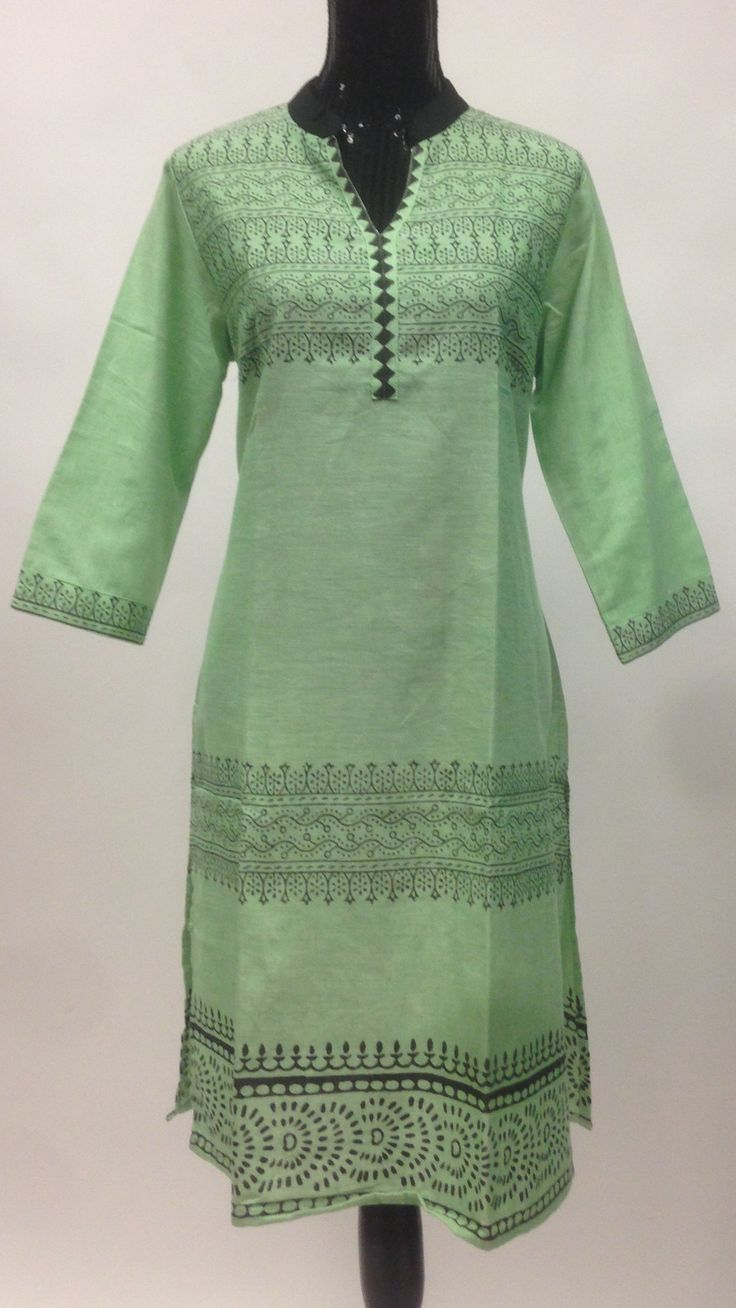 Cotton Rajasthani Blocked Print Long Kurti - Green