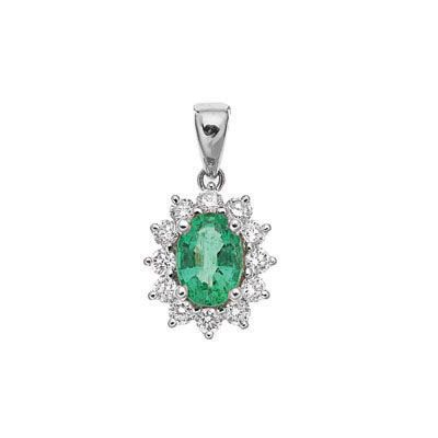 WHITE GOLD EMERALD AND DIAMOND CLUSTER PENDANT, Temelli Jewellery