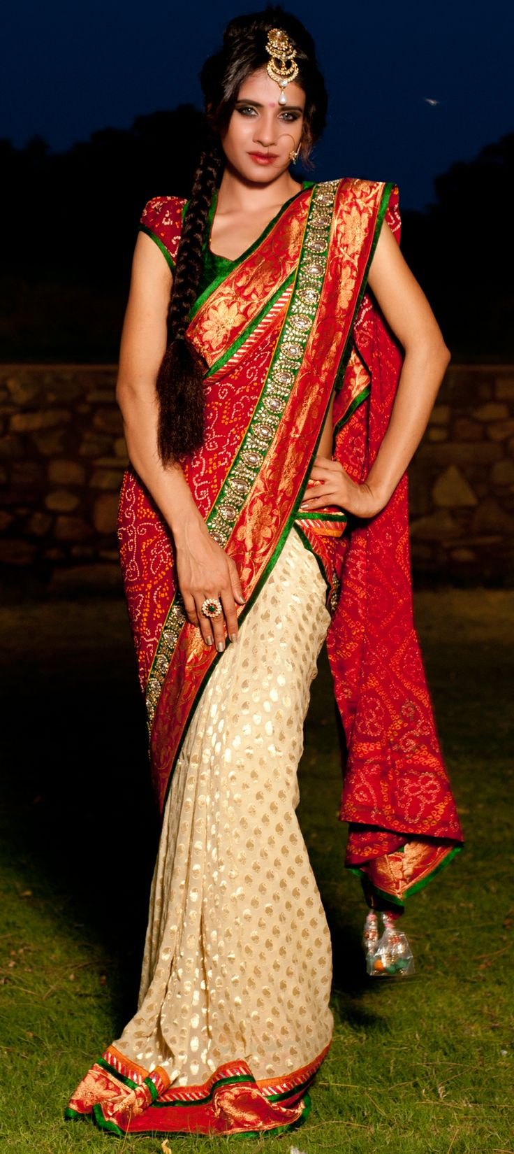 Bridal wedding saree.....This saree is come under category of bandhej sarees....buy now,For more details -> http://www.indianweddingsaree.com/product/65021.html