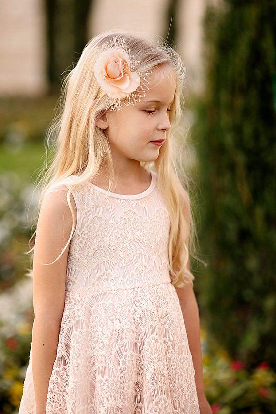 Blush Lace Flower Girl Dress por Bubale1 en Etsy