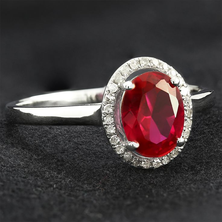 9ct White Gold Diamond  Created Ruby Ring $167 - Purejewels.com.au, #Jewelry #Ring #Diamonds  #Ruby