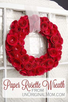 DIY Paper Rosette Wreath - includes free cut file for Silhouette users, but can also be made easily by hand! | #valentines #wreath #rosettes #silhouette