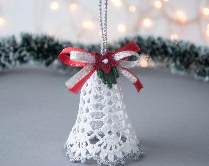 Häkeln Sie Weihnachten Glocke häkeln Christmas Ornament Weihnachtsbaum Dekoration Weihnachten weiß Silber Dekor Cristmas Geschenk Winter Hochzeitsdekor