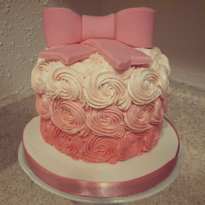 Pink ombre rosette smash cake Baby Shower Pinterest