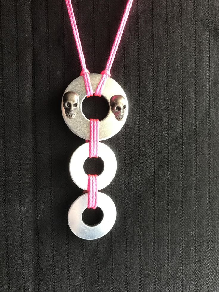 Industrial statement pendant necklace, choker, skull, washers, rope tie, flouro pink by RufusandOscar on Etsy