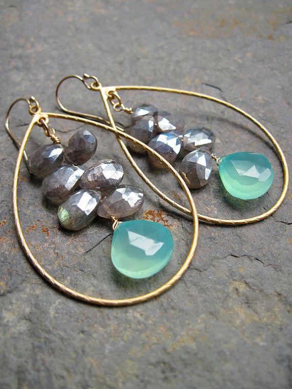 https://www.bkgjewelry.com/sapphire-ring/538-18k-white-gold-diamond-blue-sapphire-solitaire-ring.html Aqua Chalcedony and Labradorite Cluster Gold Hoop Earrings, Handmade Gemstone Earrings