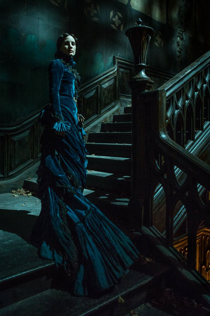 """Crimson Peak #gothic princess  There is a scene in """"Necklace of Rubies"""" where a ghost is standing on the stairs, waiting for the main character, and this picture is so lovely that the scene is now changed in my head, if I ever read it again, this is what I will see."""
