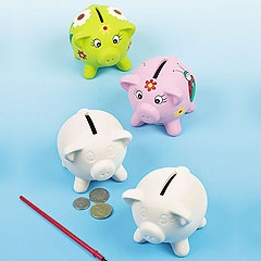 Traditional 'piggy banks' for children to paint and decorate