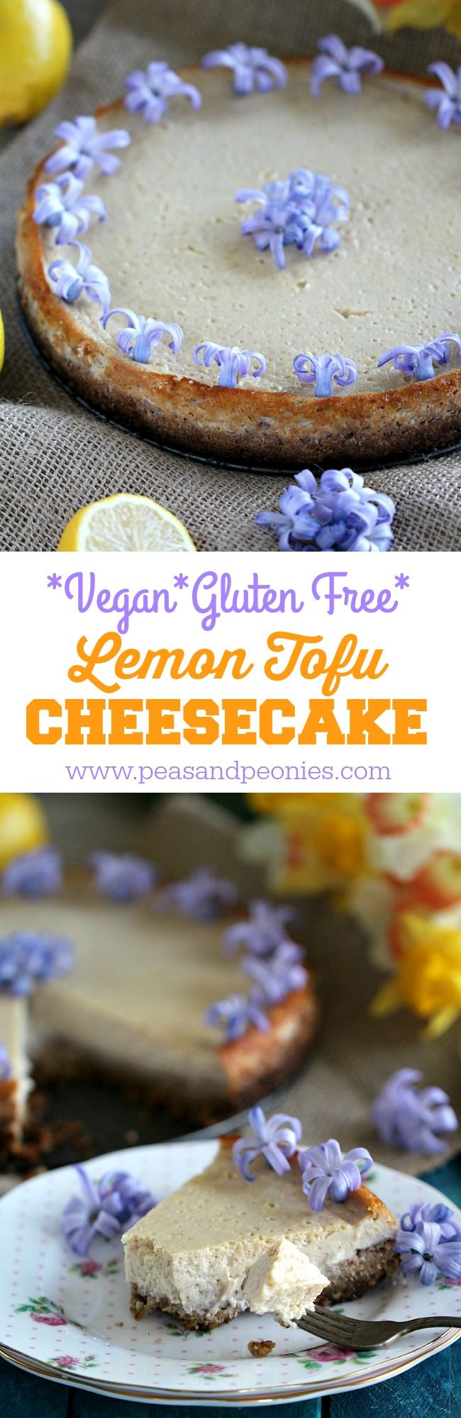 Vegan and Gluten Free, this Lemon Tofu Cheesecake with a delicious honey walnut or maple syrup crust is creamy, luxurious and flavorful.
