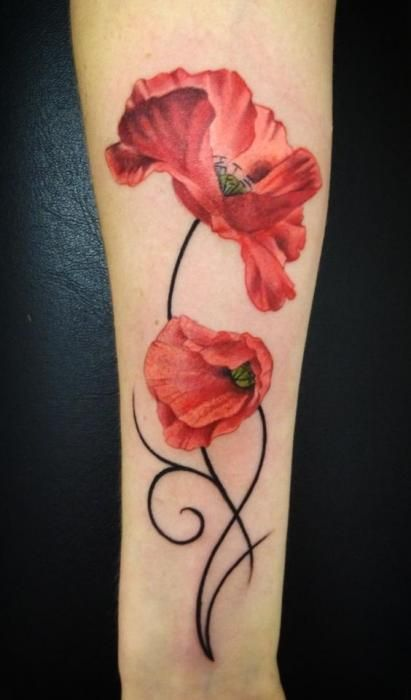 Poppy flower tattoo Poppies have long been used as a symbol of sleep, peace, and death. Red poppies have become a symbol of remembrance of soldiers who have died during wartime.