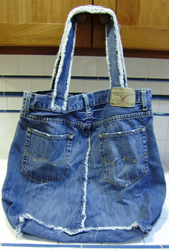 Upcycled Tote bag Multi Use Denim from Am Eagle jeans by cindaed, $18.00