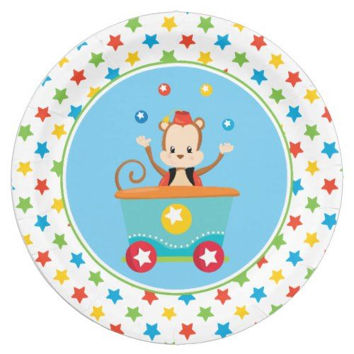 Juggling Monkey | Circus Train Paper Plate