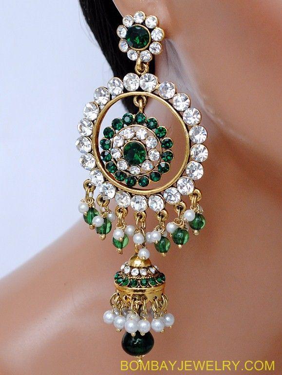 Gold Emerald Kundan earring  ($40)