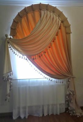 selection of arched window curtains and other arch window treatment options and some expert tips for how to choose the proper design for your home
