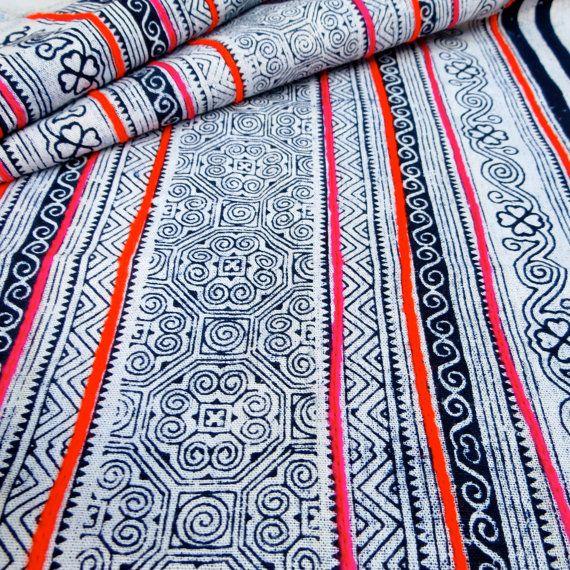 Handprinted Batik Cotton Hmong Vintage style by dellshop