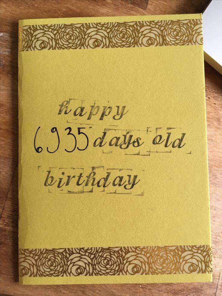 Syntymäpäivä, kortti, diy, 19 years, 19 vuotta, 6935 days old, birthday, card, 2017