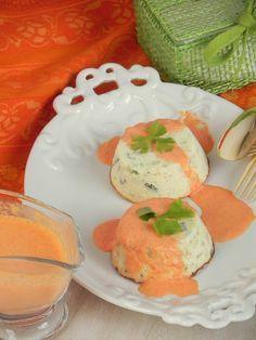 Flanes de calabacín al queso crema con salsa de piquillos   CocotteMinute