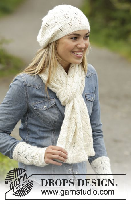 Snow Angel Free Lace Scarf and Hat Knitting Pattern Set. A complete knitting set in a gorgeous laced arch stitch to create for winter! Free Pattern