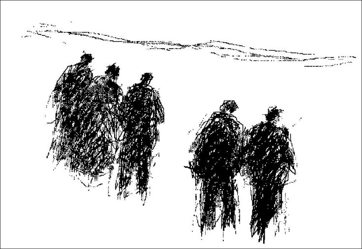 "H e n n i n g  H o l m N i e l s e n. PC-drawing. LANDSCAPE and PEOPLE. ""walking to the Church"""