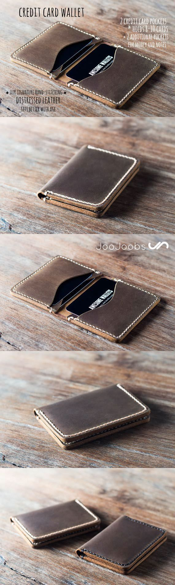 This awesome handmade leather credit card wallet is made from full grain distressed leather. You are guaranteed to love this wallet as it will draw many compliments and last a lifetime. #JooJoobs #Quality #Craftmanship
