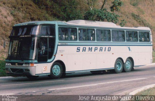 Ônibus da empresa Viação Sampaio, carro 520, carroceria Busscar Jum Buss 360 1995, chassi Volvo B10M. Foto na cidade de Piraí-RJ por José Augusto de Souza Oliveira, publicada em 03/03/2014 19:44:20.