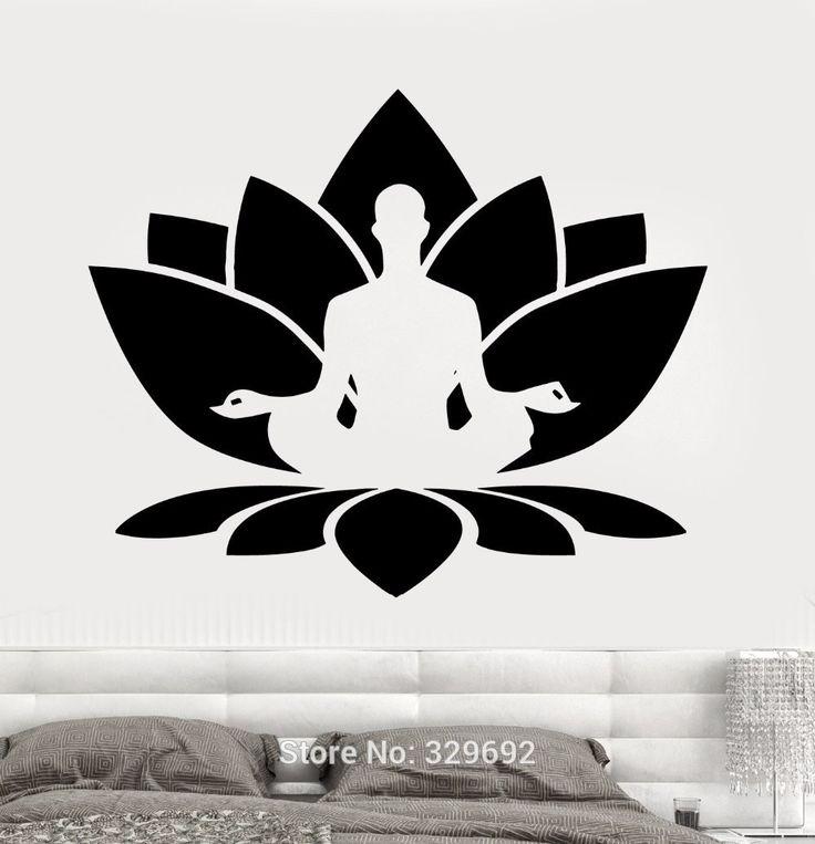 Envío gratis pared de vinilo pegatinas Home pared etiqueta de la flor de loto sentado buda meditación Yoga Studio decoración del hogar hd 007 en Pegatinas de Pared de Casa y Jardín en AliExpress.com   Alibaba Group