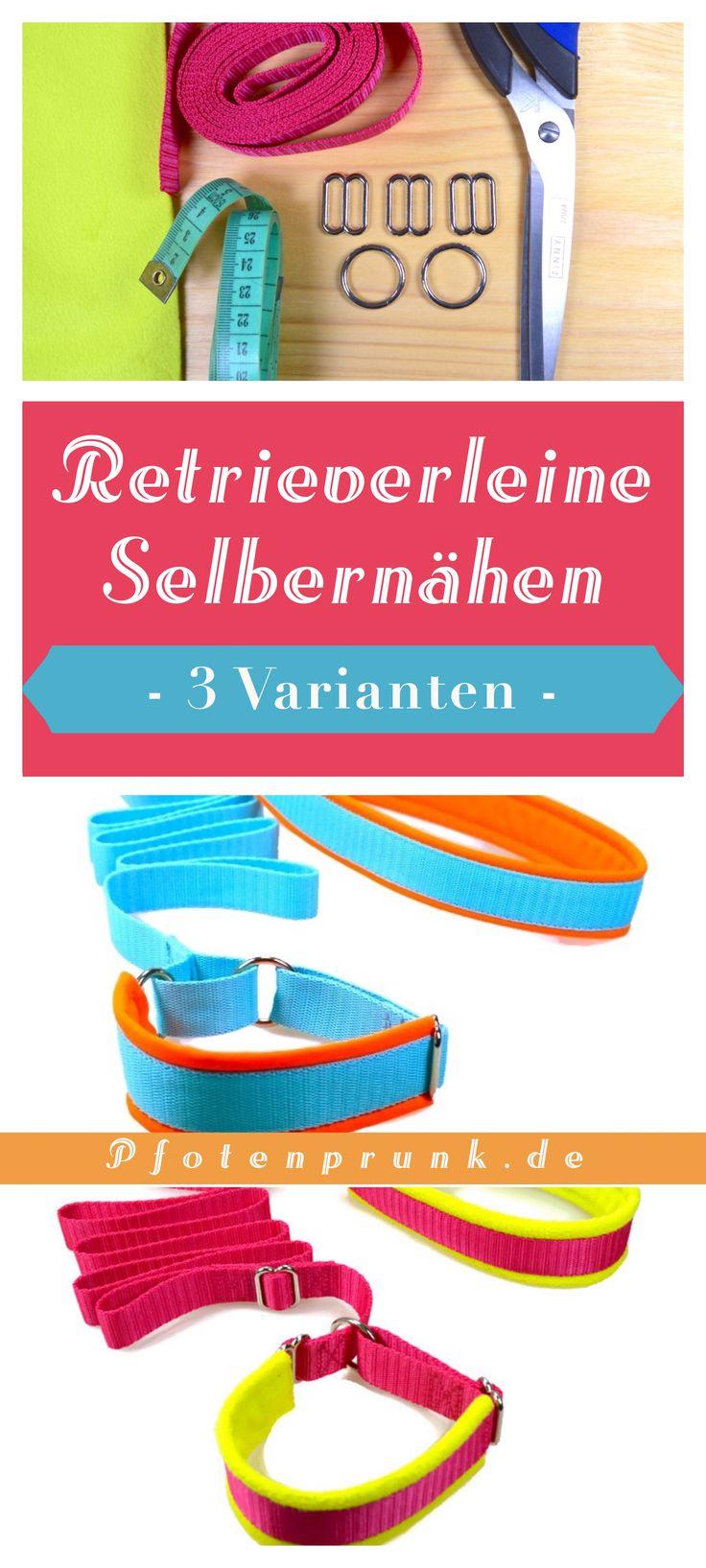 3 maneras de coser un Retrieverleine   – ♥ Pfotenprunk DIY – Anleitungen für Hunde (Hundehalsband, Geschirr, Leine, Basteln, Nähen, Betten, Halsband)