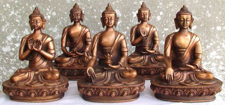 """Among hundreds of Buddha statue mudras in Buddhism, there are five of very important mudras of """"Dhyani Buddhas"""" also called """"Pancha Buddhas"""". Here are five of different kind of Buddha statues in different mudras and their meanings."""